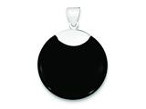 Sterling Silver Round Black Onyx Pendant - Chain Included style: QP1302