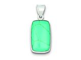 Sterling Silver Rectangle Turquoise Pendant Necklace - Chain Included style: QP1317