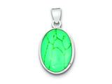 Sterling Silver Oval Turquoise Pendant - Chain Included style: QP1323