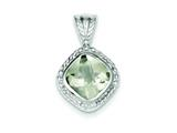 Sterling Silver Green Quartz Pendant - Chain Included style: QP1755