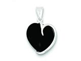 Sterling Silver Onyx Heart Pendant Necklace - Chain Included style: QP193