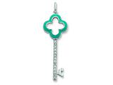 Sterling Silver Turquoise Enamel and Cubic Zirconia Key Pendant Necklace - Chain Included style: QP1986