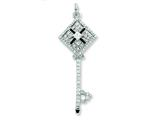 Sterling Silver Enameled Cubic Zirconia Square Key Pendant - Chain Included style: QP2041