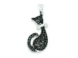Sterling Silver Black and White Cubic Zirconia Cat With Bow Pendant Necklace - Chain Included style: QP2112