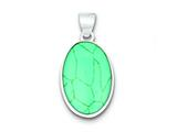 Sterling Silver Turquoise Polished Oval Pendant Necklace - Chain Included style: QP2127