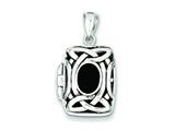 Sterling Silver Onyx Locket Necklace style: QP225