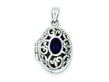 Sterling Silver Amethyst Locket Necklace style: QP228