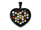 Sterling Silver Black Rhodium Multi-colored Cubic Zirconia Heart Pendant - Chain Included style: QP2424