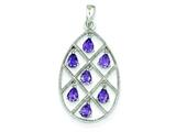Sterling Silver Amethyst Teardrop Pendant - Chain Included style: QP2432