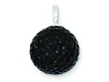 Sterling Silver Stellux Crystal 12mm Black Ball Pendant - Chain Included style: QP2547