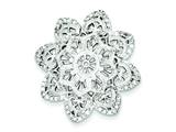 Sterling Silver Cubic Zirconia Flower Slide Pendant - Chain Included style: QP2556