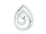 Sterling Silver Micro Pave And Center Cubic Zirconia Swirl Teardrop Pendant - Chain Included style: QP2559