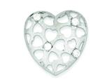 Sterling Silver Cubic Zirconia Heart Pendant - Chain Included style: QP2767