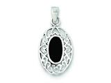 Sterling Silver Onyx Oval Antiqued Pendant - Chain Included style: QP2832