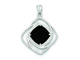 Sterling Silver Onyx Square Pendant Necklace - Chain Included style: QP2833
