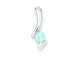 Sterling Silver Blue Topaz Pendant Necklace - Chain Included style: QP301