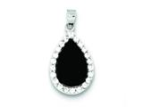 Sterling Silver Cubic Zirconia And Onyx Pendant Necklace - Chain Included style: QP469