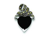 Sterling Silver Marcasite And Onyx Heart Pendant - Chain Included style: QP587