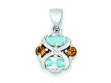 Sterling Silver Blue Topaz And Citrine Pendant Necklace - Chain Included style: QP610