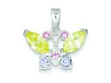 Sterling Silver Multi-color Cubic Zirconia Butterfly Pendant Necklace - Chain Included style: QP664