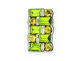 Sterling Silver Peridot and Citrine Pendant Necklace - Chain Included style: QP674
