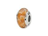 Reflections™ Sterling Silver White/Brown Swirl Hand-blown Glass Bead / Charm style: QRS1331