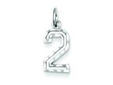 Sterling Silver Small Bright-cut #2 Charm style: QSN02