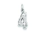 Sterling Silver Small Bright-cut #4 Charm style: QSN04