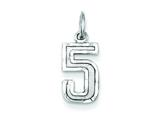 Sterling Silver Small Bright-cut #5 Charm style: QSN05