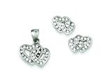 Sterling Silver Double Heart Cubic Zirconia Pendant Necklace and Earrings Set - Chain Included style: QST187