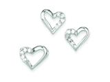 Sterling Silver Cubic Zirconia Heart Pendant Necklace and Earrings Set - Chain Included style: QST188