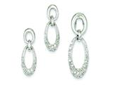 Sterling Silver Cubic Zirconia Oval Earringsand Pendant Necklace Set - Chain Included style: QST196