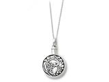 Sentimental Expressions(tm) Sterling Silver Antiqued Circle Remembrance Ash Holder 18 Inch Necklace style: QSX174