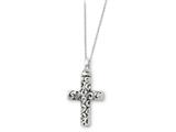 Sentimental Expressions(tm) Sterling Silver Antiqued Cross Remembrance Ash Holder 18 Inch Necklace style: QSX177