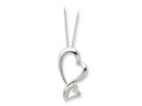 Sentimental Expressions(tm) Sterling Silver and CZ Protected Heart 18 Inch Necklace style: QSX205