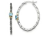 Sterling Silver W/ 14k Light Blue Swiss Topaz Oval Hoop Earrings style: QTC1307