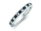 Sterling Silver Blue and White Cubic Zirconia Eternity Band style: QWAB12