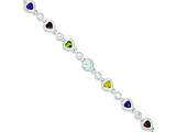 Sterling Silver Polished Multicolored CZ Heart Bracelet style: QX324CZ