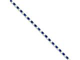 Sterling Silver Blue And Clear Cubic Zirconia Bracelet style: QX441CZ