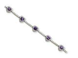 Sterling Silver Amethyst And Clear Cubic Zirconia Heart Bracelet style: QX452AM