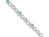 Sterling Silver Blue And Clear Cubic Zirconia Bracelet style: QX609CZ