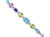 Sterling Silver 7.5inch Multicolored Cubic Zirconia Bracelet style: QX680CZ