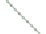 Sterling Silver 7in Green And Smokey Quartz Round Gem Bracelet style: QX800SQ