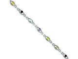 Sterling Silver 7in Multicolored Gemstone Link Bracelet style: QX802RB