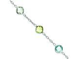 Sterling Silver Multi Color Gemstone Bracelet style: QX866RB