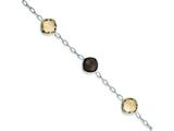 Sterling Silver Citrine and Smokey Quartz Bracelet style: QX867CI