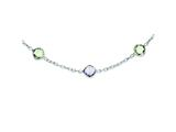 Sterling Silver 18in. Amethyst and Green Quartz Necklace style: QX899AM