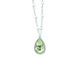 "Sterling Silver 18""green Amethyst and Rainbow Moonstone Necklace style: QX910AG"