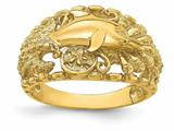 Finejewelers 14k Yellow Gold Dolphin with Shell Starfish Combination Ring style: R818