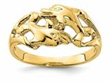 Finejewelers 14k Yellow Gold Double Dolphins Swimming Nose To Tail Ring style: R825